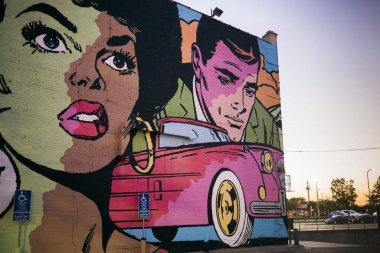 Mural on wall, Minneapolis, Hennepin County, Minnesota, USA
