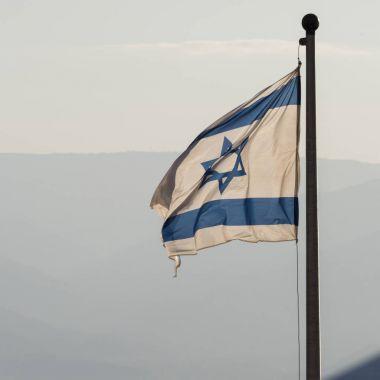 Close-up of Israeli flag, Masada, Judean Desert, Dead Sea Region, Israel