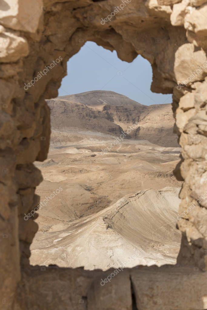 Desert seen from an arch, Masada, Judean Desert, Dead Sea Region, Israel