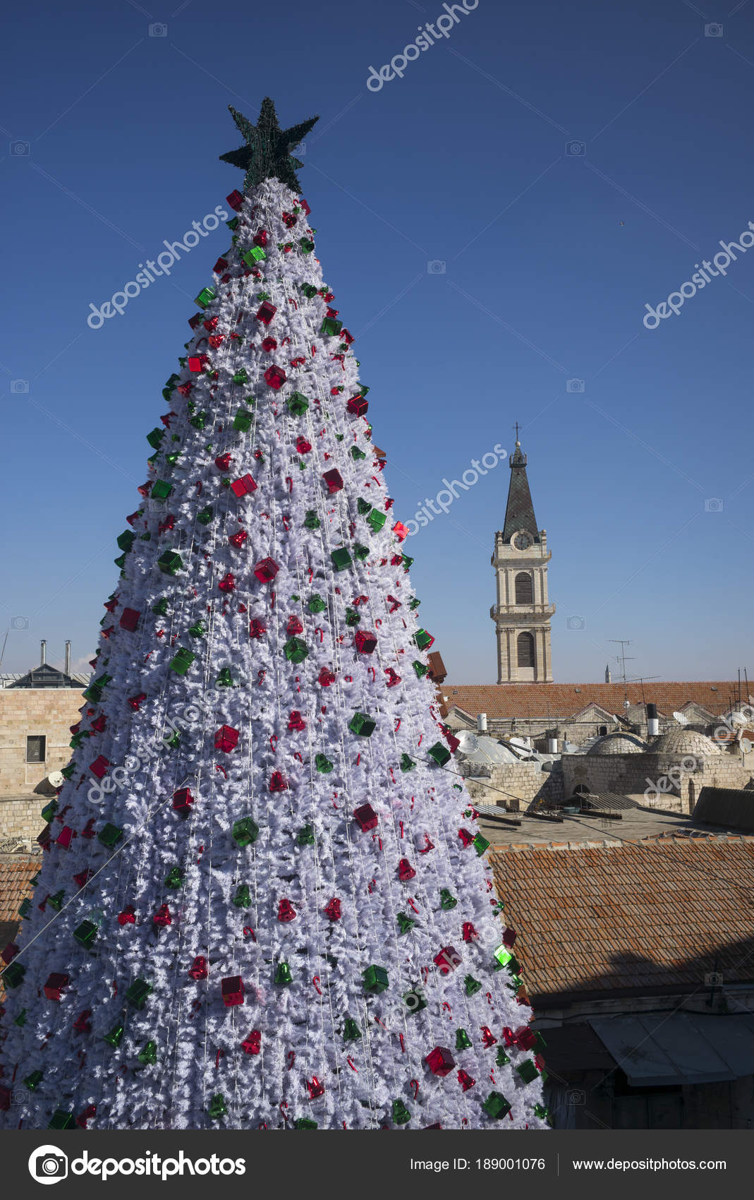Decorated Christmas Tree Tower San Salvador Monastery Background Old ...