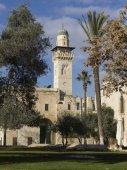 Fotografie Bab al-Silsila minaret in Al Aqsa Mosque, Temple Mount, Old City, Jerusalem, Israel