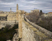 Photo View of Ramparts Walk with Tower of David in the background, Jerusalem, Israel