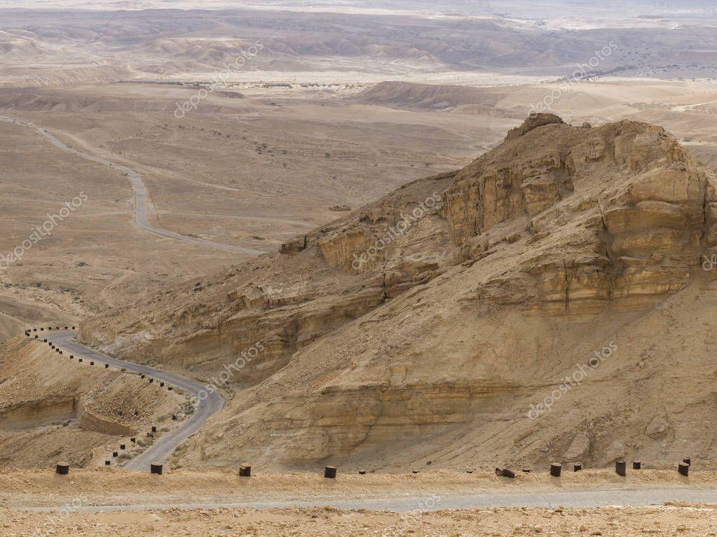 Highway passing through a desert, Scorpions Ascent, Arava Valley, Negev Desert, Israel