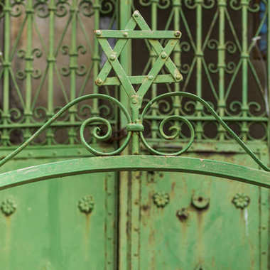 Close-up of Star of David on metal gate, Safed, Northern District, Israel