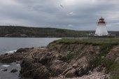 Leuchtturm an der Küste, Neils Hafen, Insel Cape Breton, Nova Scotia, Kanada