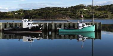 Fishing trawlers moored at dock, Inverness Harbour, Mabou, Cape Breton Island, Nova Scotia, Canada