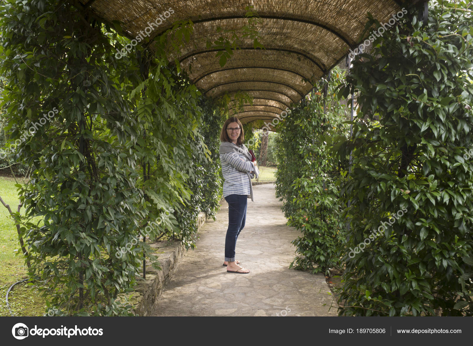 Happy Woman Standing Covered Garden Path Gaiole Chianti Tuscany Italy U2014  Stock Photo