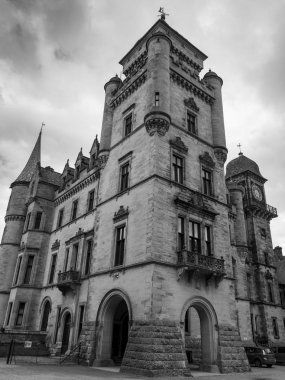 Low angle view of the Dunrobin Castle, Golspie, Sutherland, Scottish Highlands, Scotland