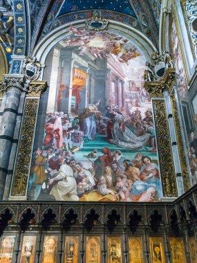 Fresco on wall, Siena Cathedral, Siena, Tuscany, Italy