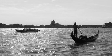 Gondola on Venetian Lagoon, Venice, Veneto, Italy