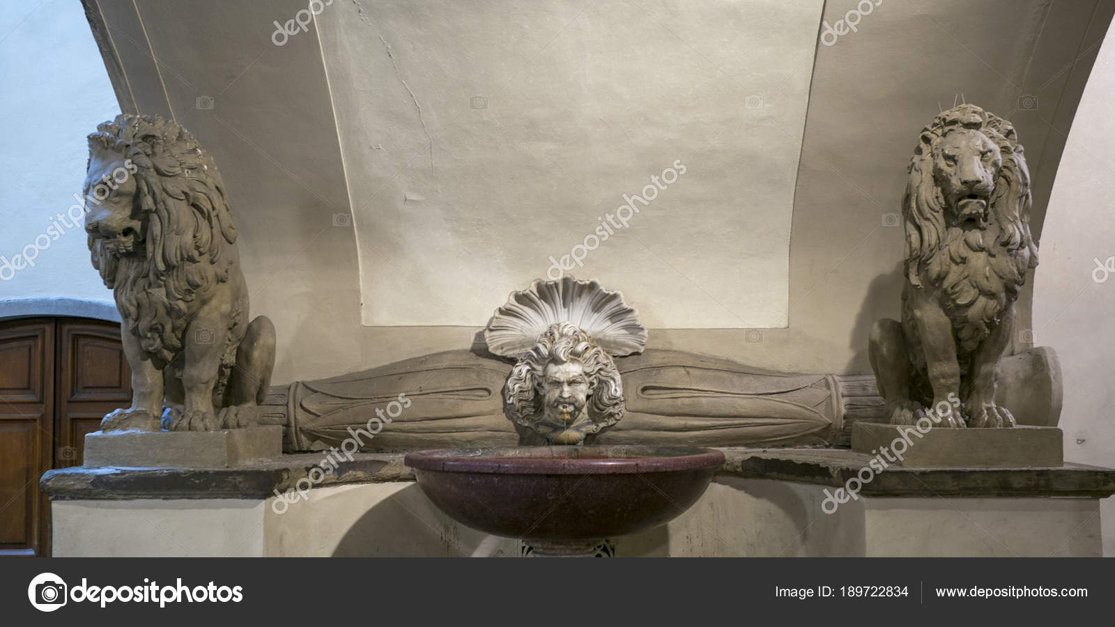 Lions Fountain Florence.Statue Lions Fountain Florence Tuscany Italy Stock Photo