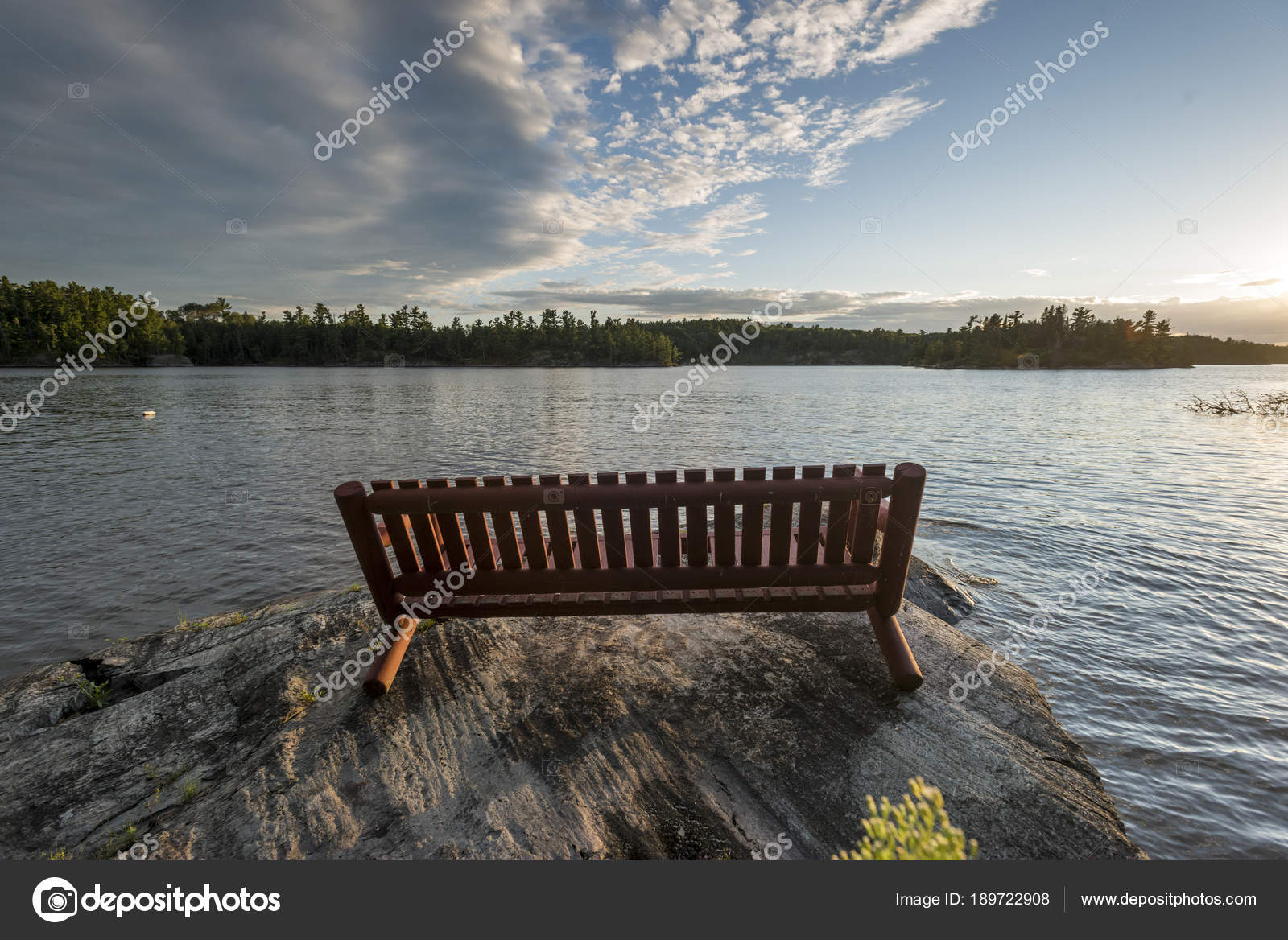 Wooden Bench Rock Lake Shore Kenora Lake Woods Ontario Canada