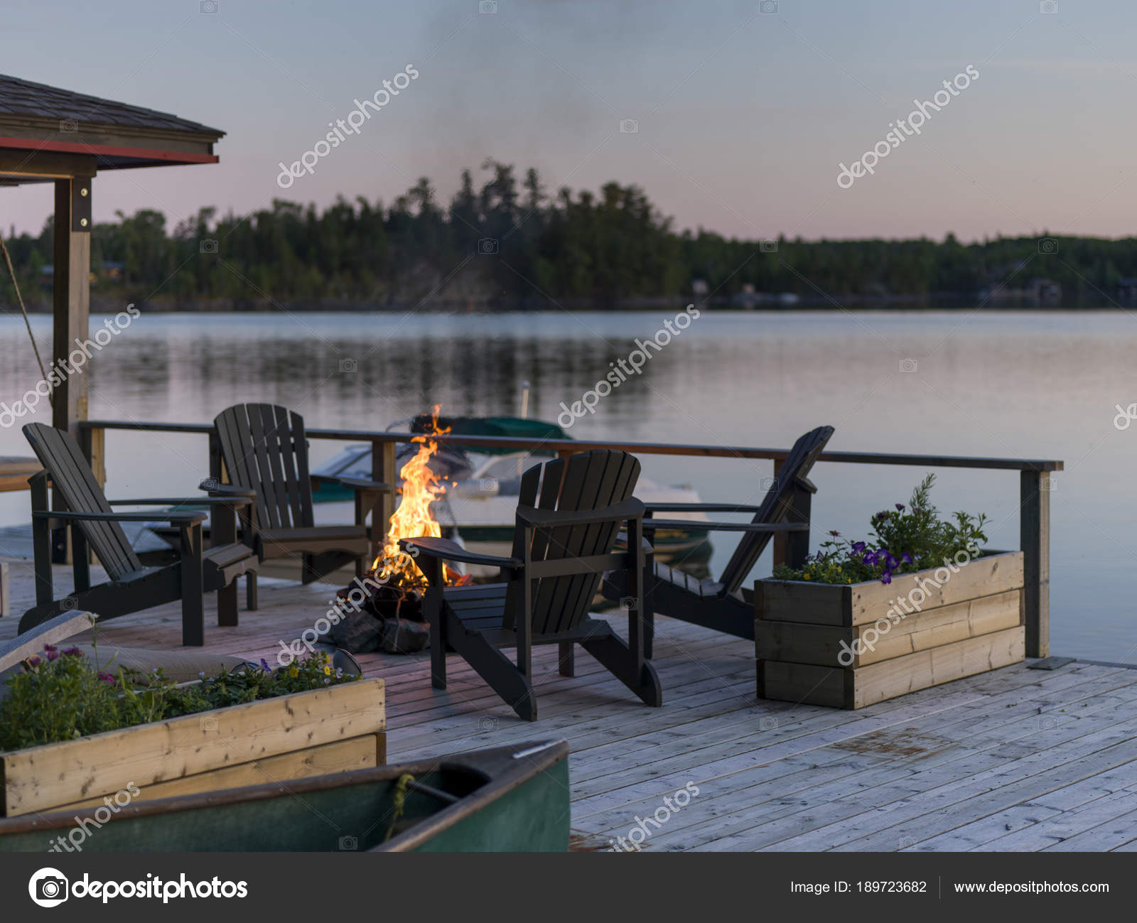 Adirondack Chairs And Campfire On A Dock, Lake Of The Woods, Ontario,  Canada U2014 Photo By Klevit.shaw.ca