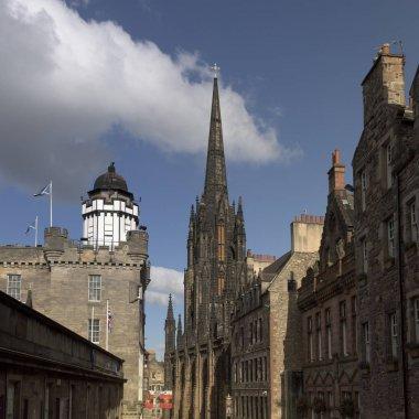 View of buildings along street, Edinburgh, Scotland