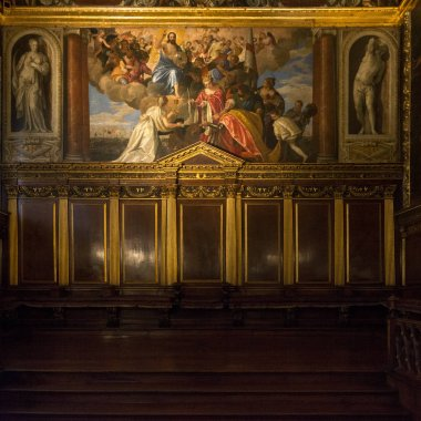Biblical paintings at Doge's Palace, Venice, Veneto, Italy