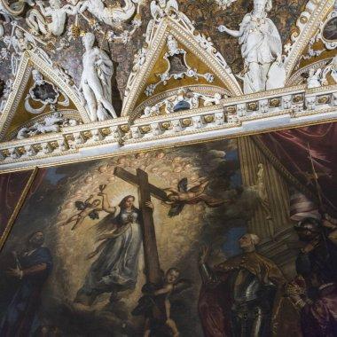 Frescos on ceiling, Doge's Palace, Venice, Veneto, Italy
