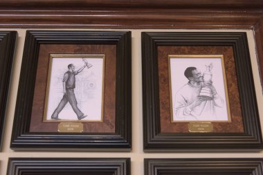 Paintings on wall, Old Course at St Andrews, St Andrews, Fife, Scotland