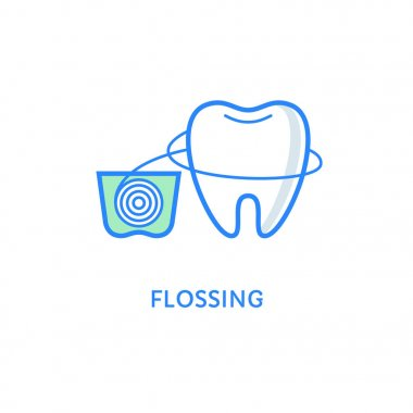 Teeth flossing symbol. Dental icons. Tooth with dental floss isolated on white. Teeth care and hygiene. Flat line style.