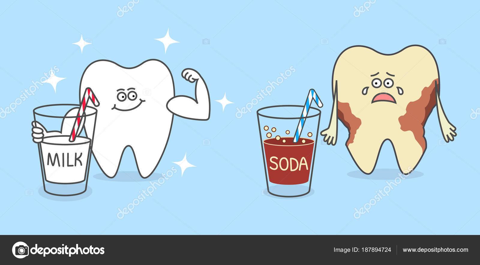 Dientes Sanos Dibujos Animados Con Vaso Leche Diente