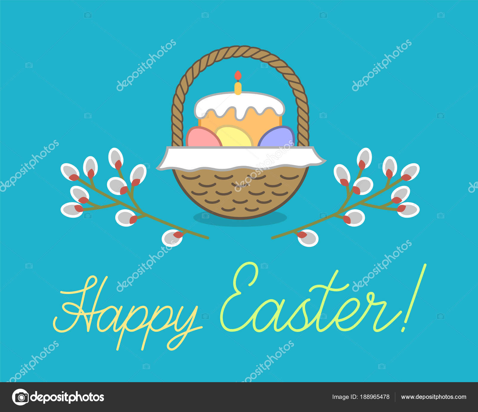 Happy Easter Holiday Greetings Card Wicker Basket Bread Traditional