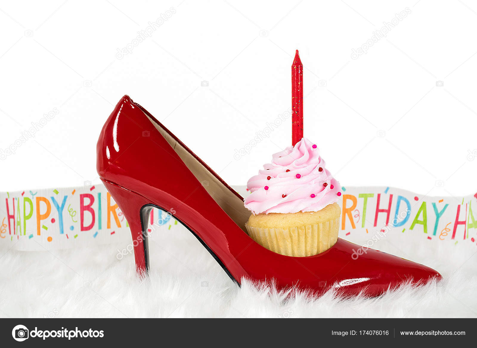 Pleasing Images High Heel Shoe Birthday Cake Birthday Cupcake In Red Birthday Cards Printable Opercafe Filternl