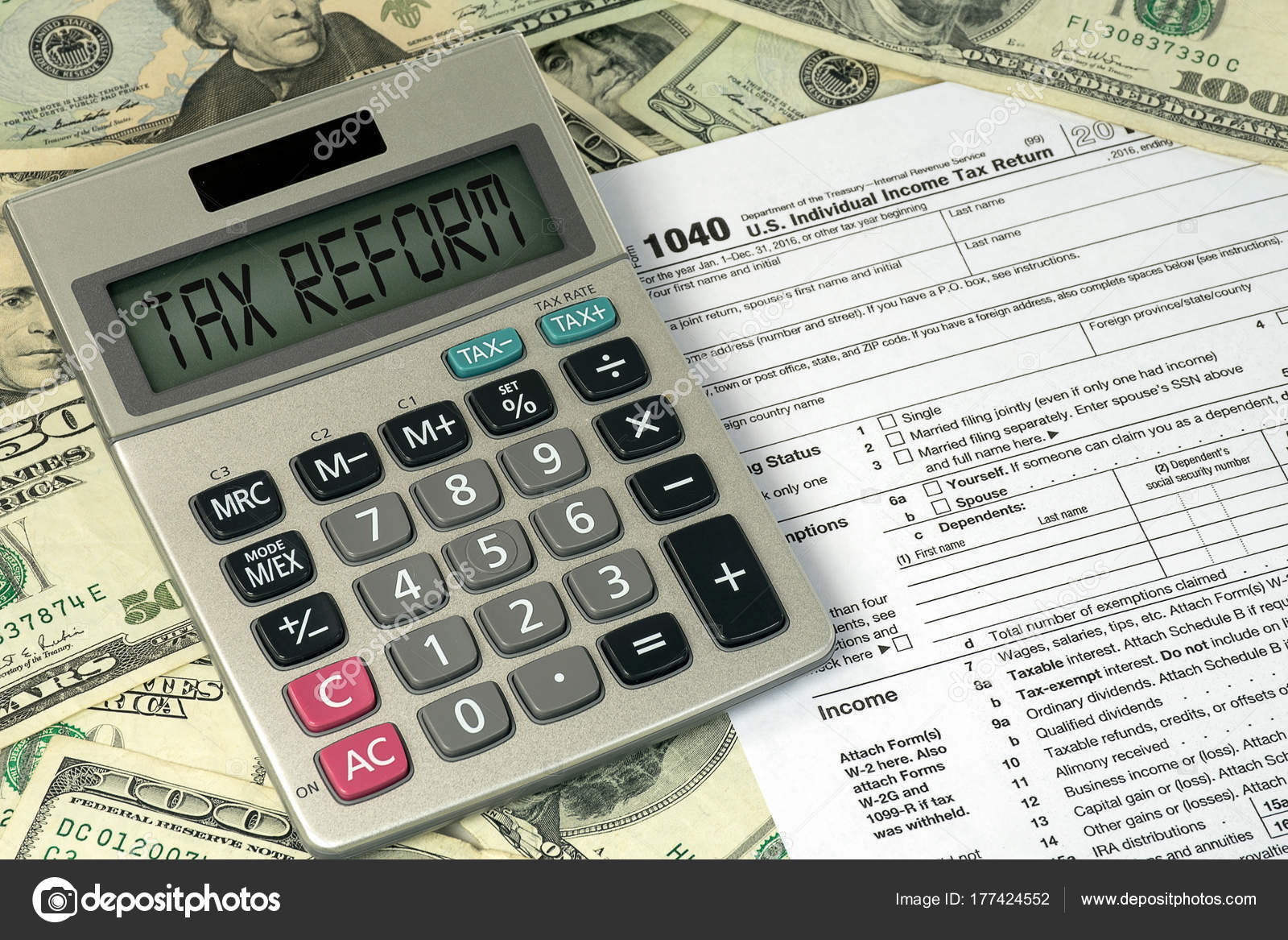 Tax reform text calculator 1040 income tax form american paper tax reform text calculator 1040 income tax form american paper stock photo falaconquin