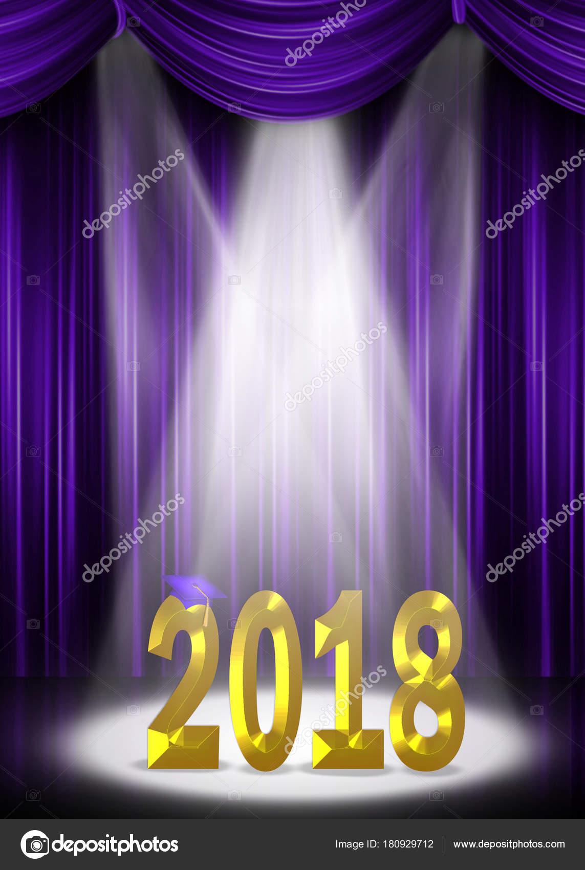 Purple Stage Curtains Gold Graduation 2018 Text Illuminating Spotlight Stock Photo