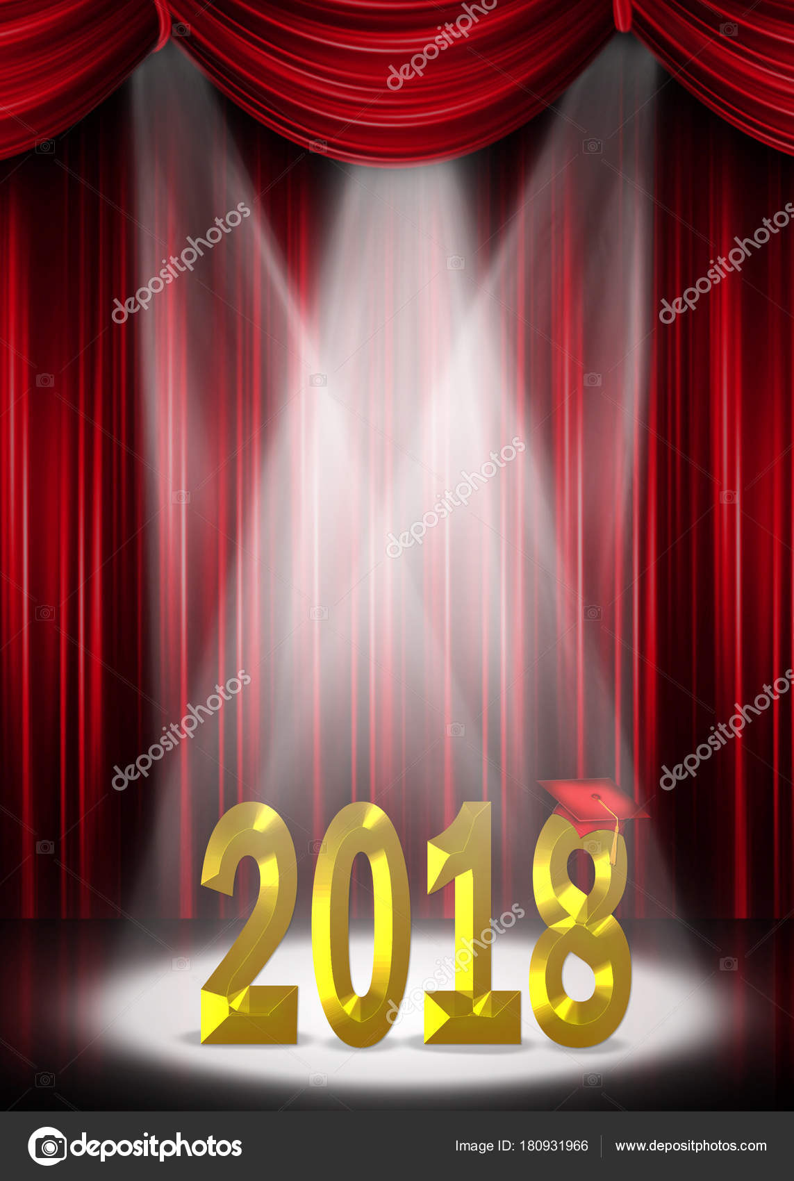 Red Curtain Backdrop 2018 Gold Text Spotlight Stage Graduation Stock Photo