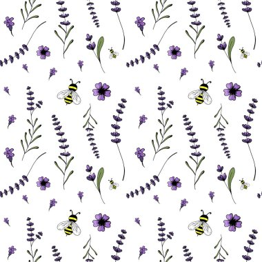 Seamless pattern, lavender theme of Provence