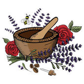 Vector illustration. A set of objects for creating perfumery, or