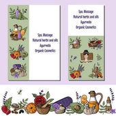 Set of  Vector illustration with cartoon spa, massage, organic c