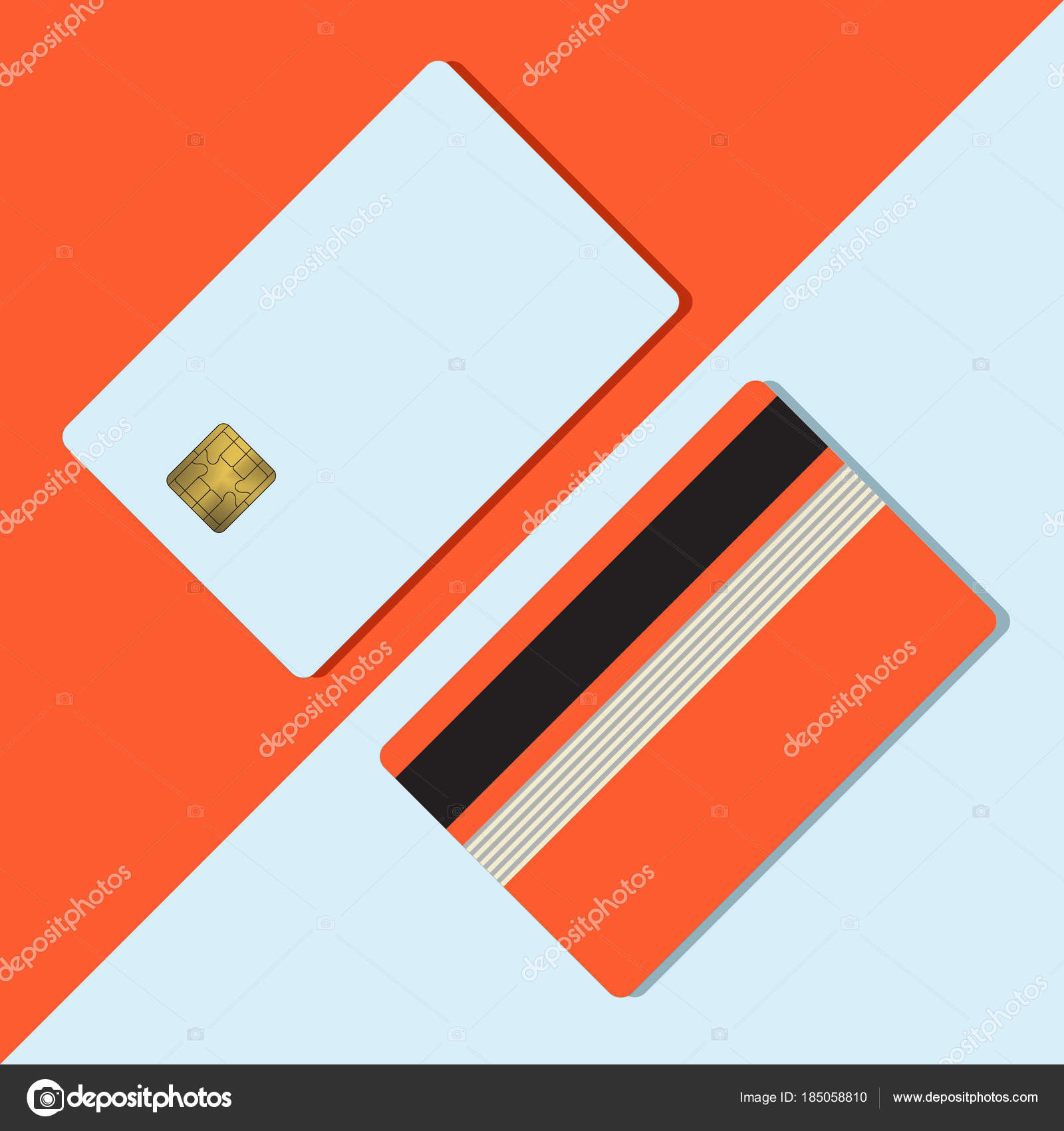 Bank credit card mockup blank teplate stock vector anachoreta bank credit card mockup vector illustration blank business template on red background with shadow payment device clear with gold metal gradient chip and reheart