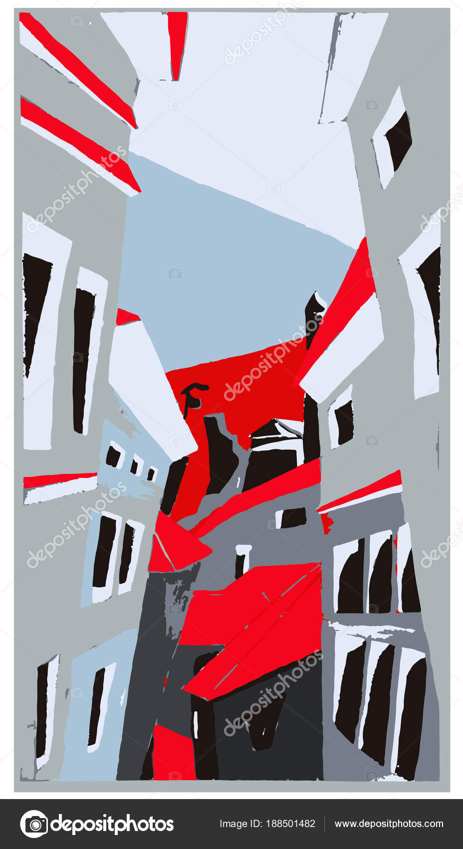Vue aérienne de ville Art Gouache peinture rouge bleu gris ...