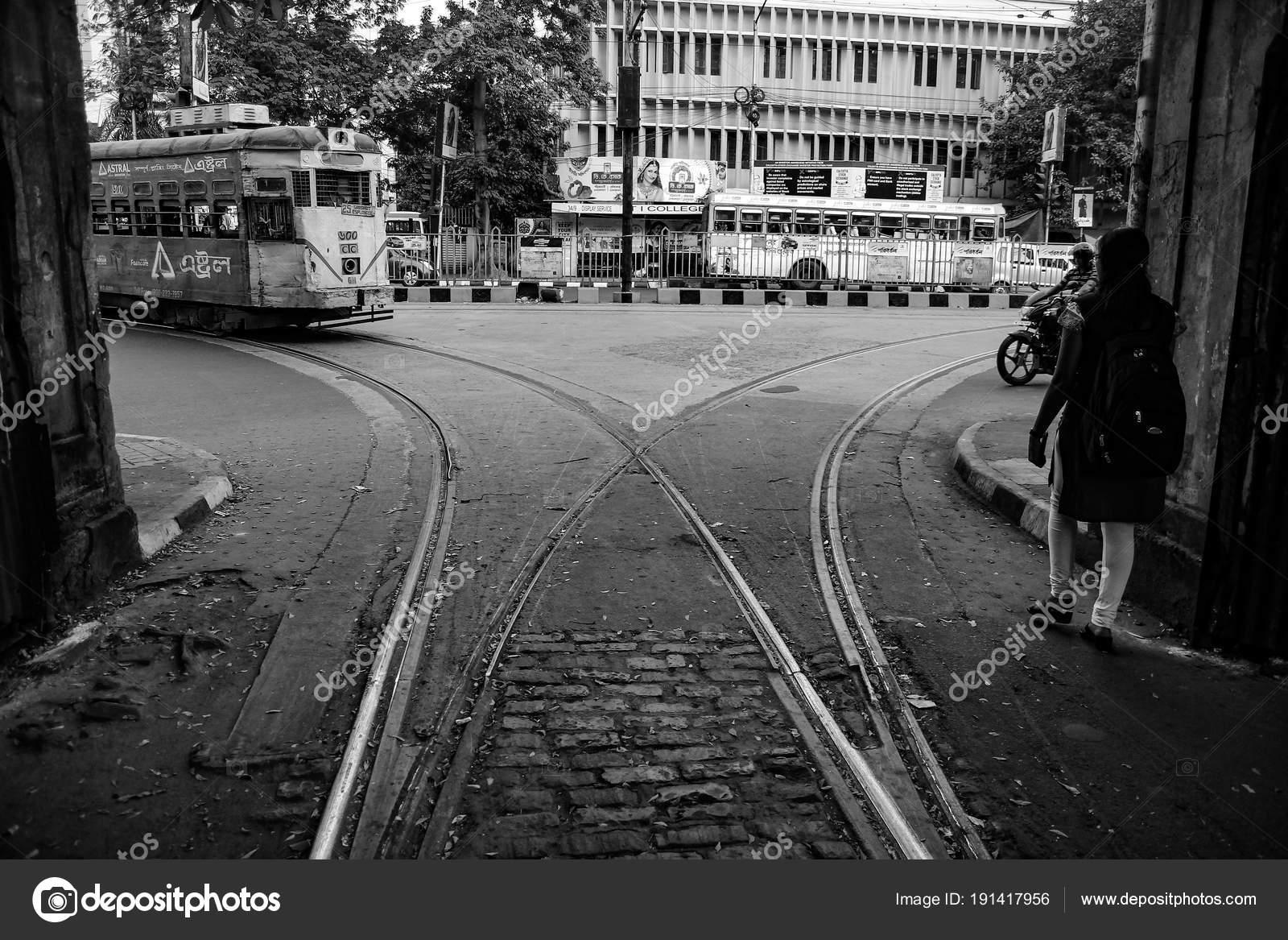Tram approaching in a tram track junction depot in street of kolkata black and white kolkata india 2017 photo by shibu7213 gmail com