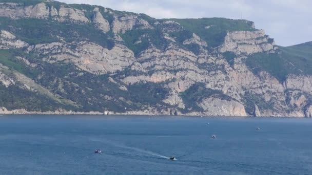 Rocky seashore. Panoramic view of the sea landscape.