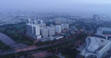 High building in Cloud - sai gon - viet nam from Drone