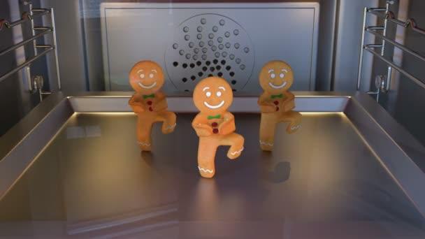 Perník muž tanečníci. Denní světlo. 3D animace funny, teplé a sladké cookie boy tančí pro dovolené a kid událost, show, Vj, večírek, hudba, webové stránky, bannery, dvd