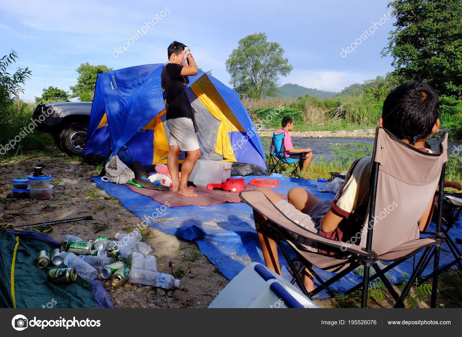 Family Tent Camping Rain Forest Stream Sangkhlaburi Kanchanaburi