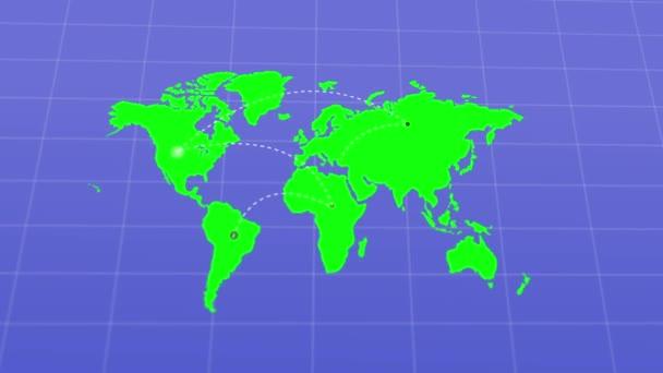 řádky zobrazující země spojující na mapě světa