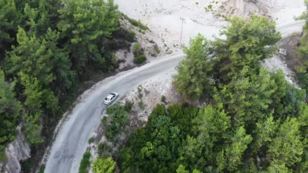 Letecký pohled přelétající nad dvouproudou lesní cestou s autem pohybujícím se zelenými stromy lesa rostoucími po obou stranách. Auto jedoucí po lesní cestě. anténa: auto projíždějící borovým lesem