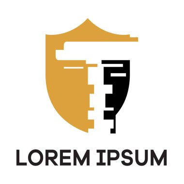 T letter logo design. Letter t in shield vector illustration. safety and security icon
