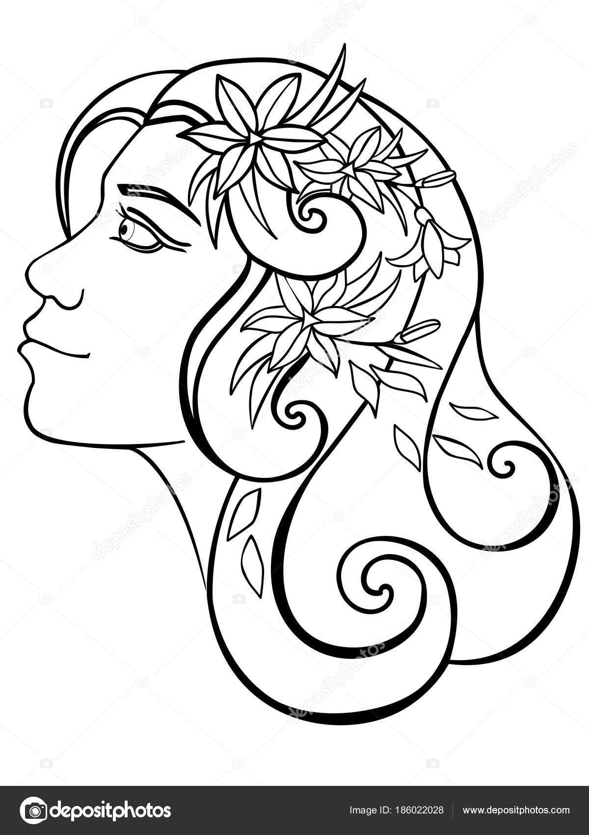 Niña Con Flores Pelo Una Mujer Una Corona Primavera Dibujo — Vector ...
