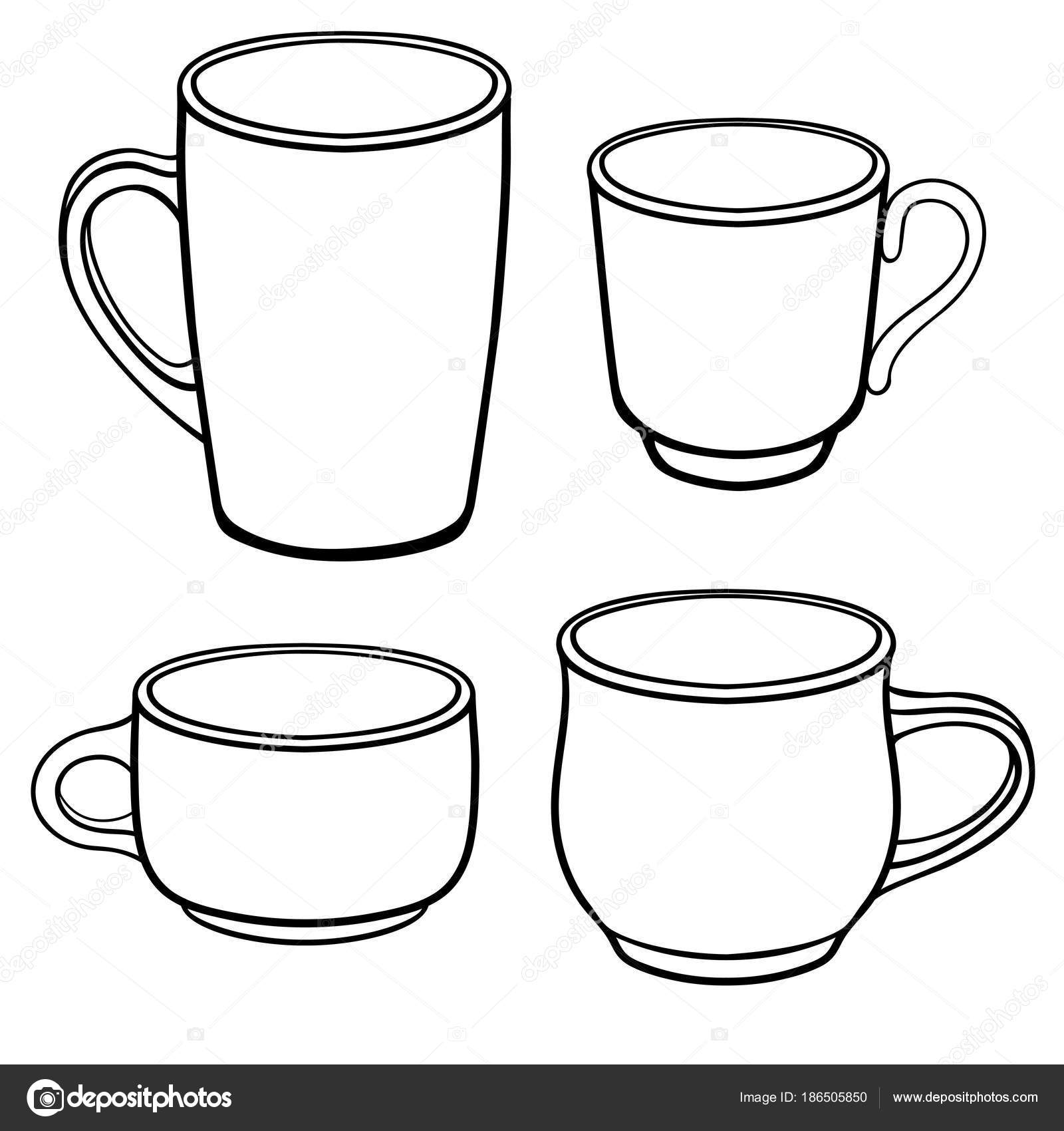 Cups Mugs Coffee Different Shapes Set Templates Line Drawing ...