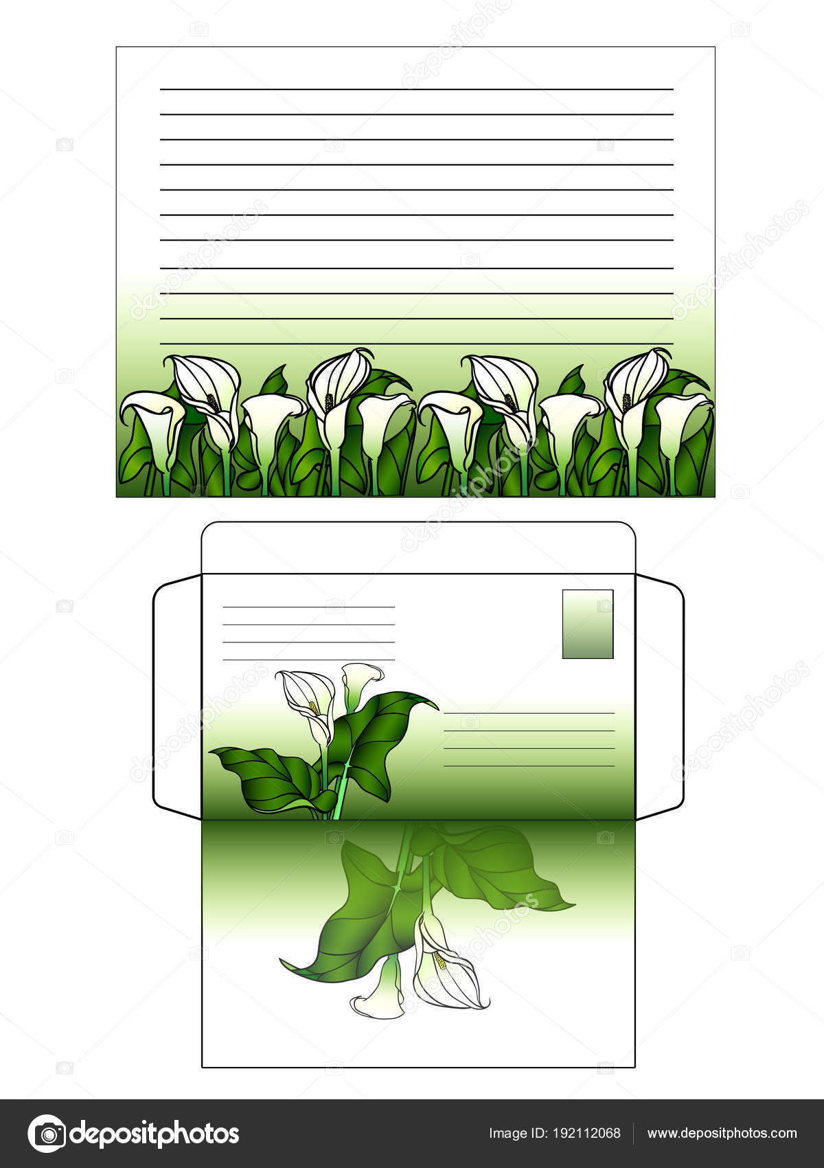 set writing letter decorated flowers horizontal sheet paper envelope
