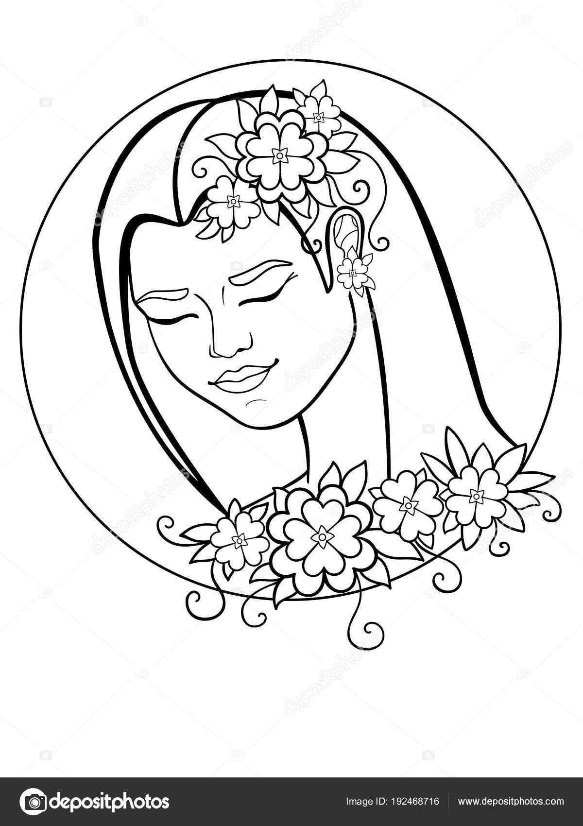 Coloriage Guirlande Fleurs.Fille Avec Des Fleurs Dans Les Cheveux Une Femme Dans