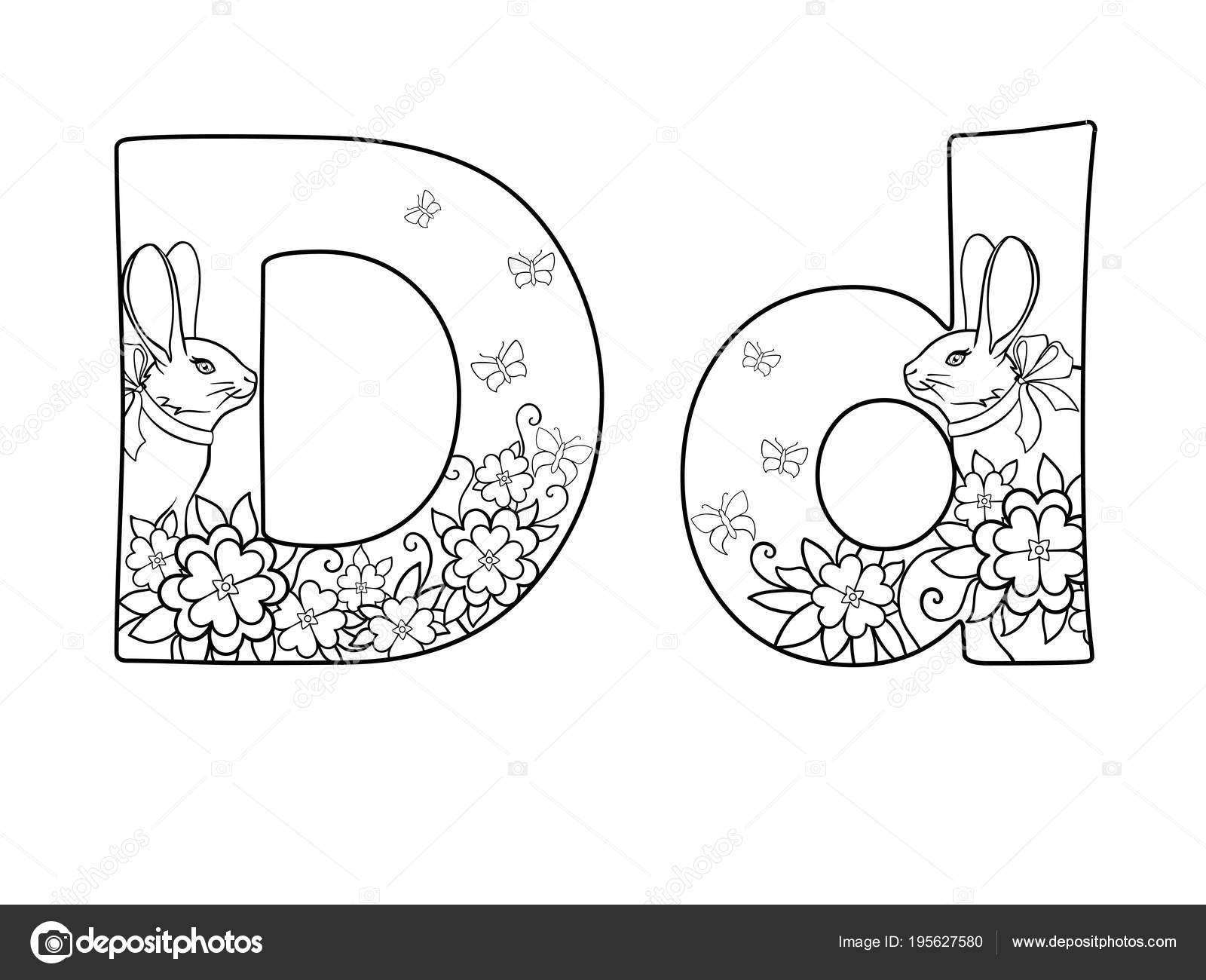 Mektup Alfabe Harfi Bir Doodle çiçekler Tavşan Kelebekler