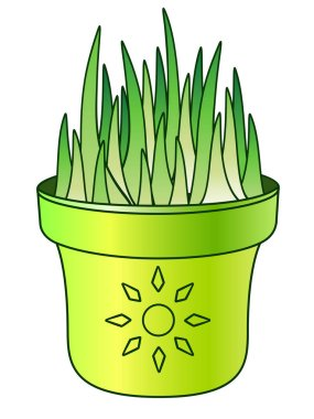 Grass in a flower pot. Young, juicy, green grass sprouted in a green flower pot with a picture of the sun. Young sprouts, germinated seeds - seedlings for the garden - vector full color picture.