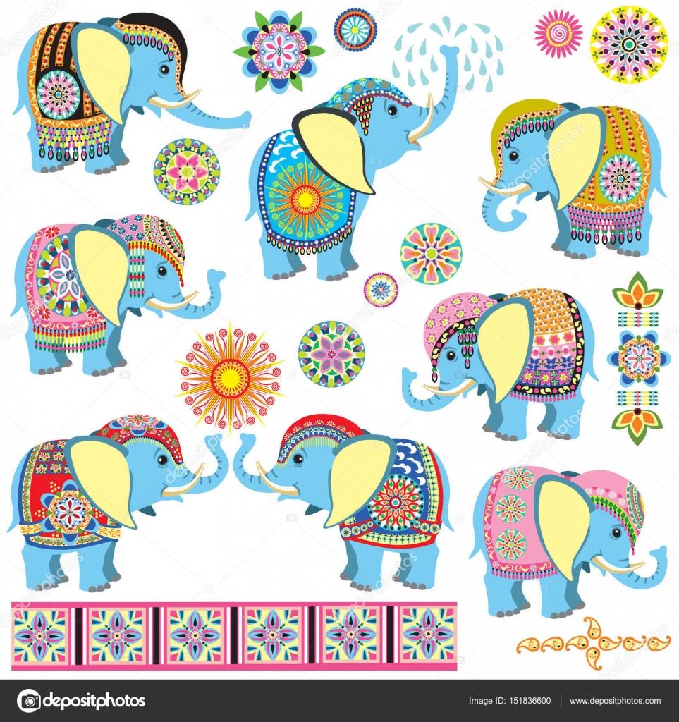 Elefantes Indios Decorados Dibujos
