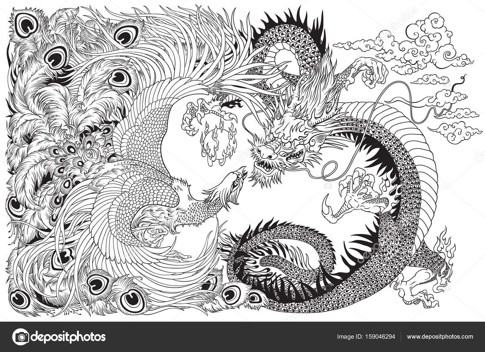 chinesischer drache und phönix spielen eine perle schwarz