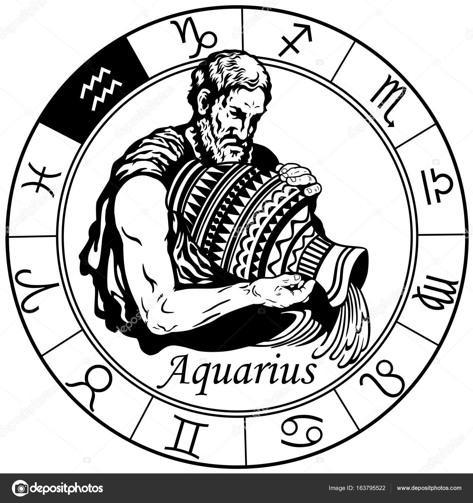 Aquarius zodiac sign black white stock vector insima 163795522 aquarius astrological horoscope sign in the zodiac wheel black and white vector illustration vector by insima biocorpaavc Image collections